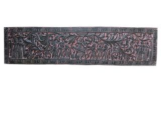 Antique Furniture Vastu Vintage Decor Hand Carved Tribal Indian Headboard Panel photo