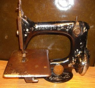 Singer Miniature Treadle Sewing Machine Sales Model Antique Belt Drive photo