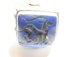 Silver & Lapis Post Medieval Eastern Antelope Niello Seal Ring.  18.  37 G.  (a758b) photo