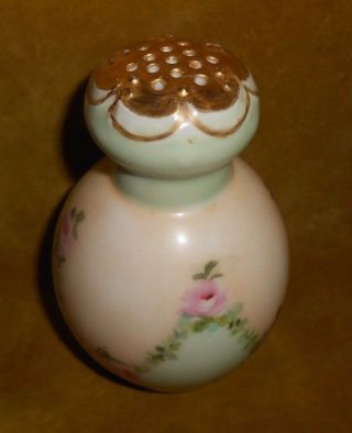 Antique Handpainted Porcelain Powder Shaker Or Hat Pin Holder A.  Brillion photo