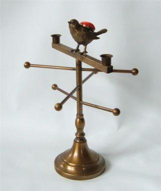 Vintage Victorian Brass Thread Spool Holder Rack Bird Pincushion Sewing Display photo