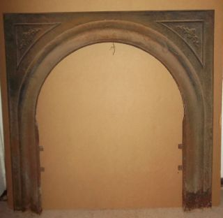 Vintage Antique Cast Iron Fireplace Surround 34 - 1/4