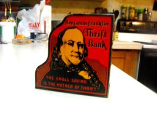Exceptional Vintage Marx Benjamin Franklin Thrift Bank Cash Register Tin Toy photo
