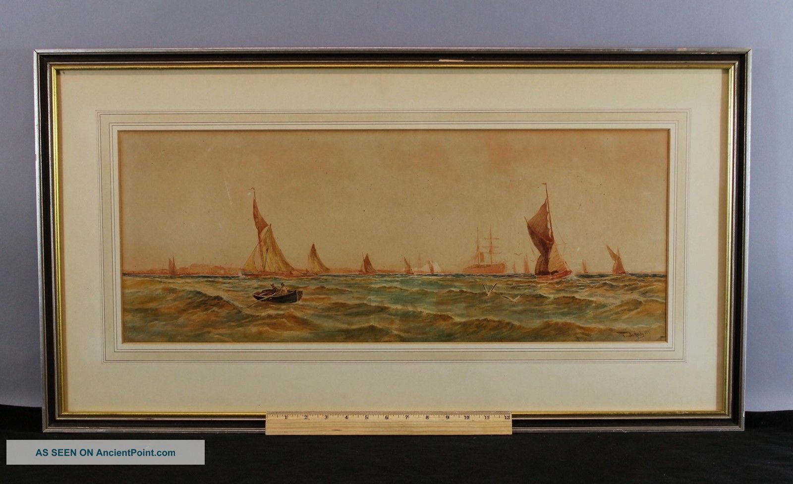 Antique 19thc Thomas B Hardy Sailboat Maritime Seascape Watercolor Painting Other Maritime Antiques photo