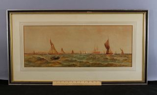 Antique 19thc Thomas B Hardy Sailboat Maritime Seascape Watercolor Painting photo
