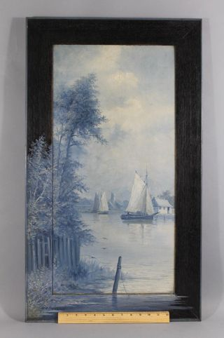 Antique Henry A.  Duessel Blue Monochromatic Harbor Sailboat Painting photo