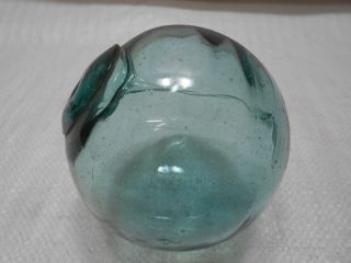 Vintage Glass Fishing Float Blue/green Spindle 4