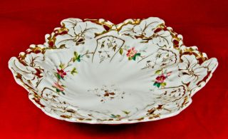 Porcelain Tielsch Co Fruit Reticulated Dish Gold Trim Germany 1850 - 1899 photo