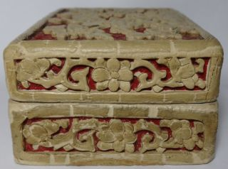 Antique Chinese Cinnabar Box White & Red 2 Color Decoration Old photo
