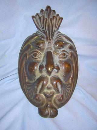 Antique / Vintage Oriental Bronze Poseidon,  Neptune Or Zeus Face Mask Heavy photo