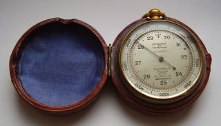 Antique Pocket Barometer Altimeter Compensated In Case Short & Mason Circa 1900s photo