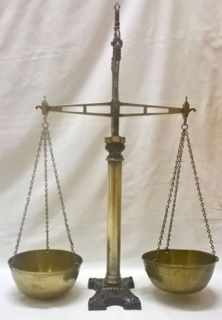 Victorian W & T Avery Scales Makers Birmingham Agate Balance Cast Iron & Brass photo