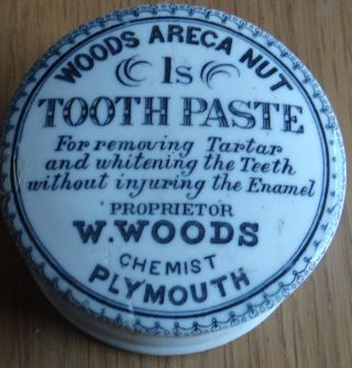 Advertising Printed Tooth Paste Pot Lid & Base.  Woods Areca Nut Chemist 1/ - Size photo