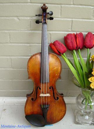 Antique Italian (cf. ) Violin Grafted Scroll 18th Century photo