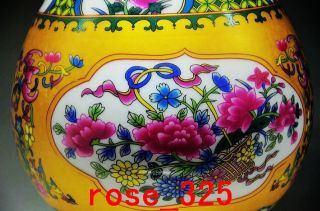 Decoration Chinese Enamel Porcelain Handmade Hand Drawing Flower Vase photo