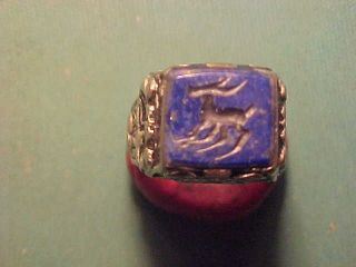 Offer Near Eastern Hand Crafted Intaglio Ring (ibex) Lapis Stone photo