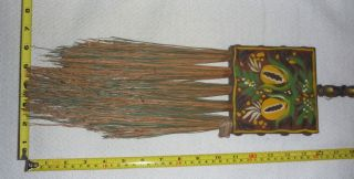 Antique Hand - Painted Hearth/fireplace Broom - Jasco - Usa Folk Art - Estate Find photo