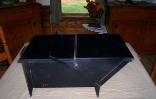 Vintage Coal Hod Ash Holder / Bucket Black Metal W Legs & Carry Handle photo