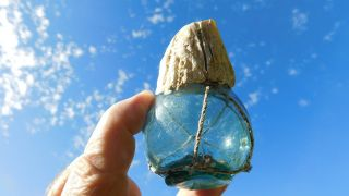 Japanese Glass Float With Large Barnacle & Net photo