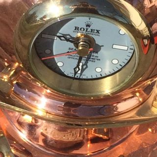 Brass Copper Nautical Maritime Rolex Clock Seadweller Scuba Divers Helmet Quartz photo