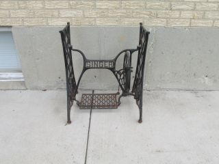Vintage Singer Treadle Sewing Machine Cast Iron Base,  Table Legs,  Industrial Age photo
