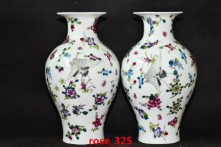 A Pair Chinese Elegant Porcelain Hand - Painted Flower Crane Vase photo