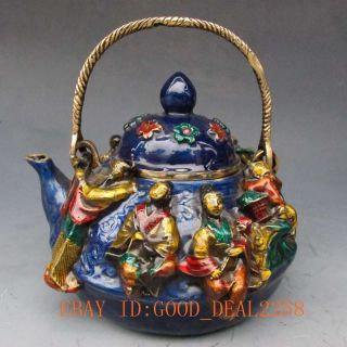 Chinese Cloisonne Handwork Carved Immortals Portable Teapot W Xuande Mark photo