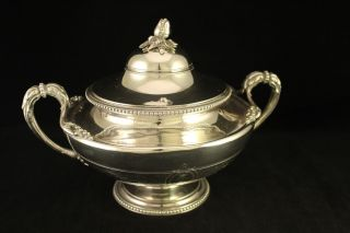 Antique Christofle Silver - Plate Pomegranate Finial Tureen Double Handle Bowl photo