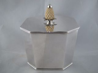 Folgate English Silverplate - Silver On Copper Tea Caddy With Pineapple Finial photo