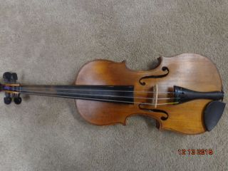 Antique Violin W/ Case And Bow For Restoration Or Parts photo