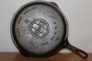 Griswold 8 Cast Iron Skillet 704 A Erie Pa.  Smooth Bottom Vintage Frying Pan photo