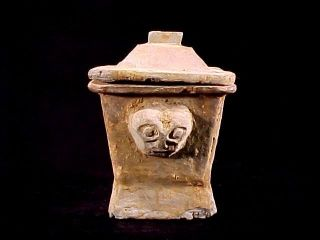 Han Dynasty Square Clay Pot Vase With Lid Tomb Burial Pottery H photo