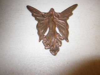 Ornate Art Nouveau Era Copper Winged Fairy Finial Or Finding,  Good Patina photo