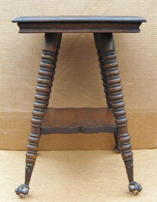 Antique Tiger Oak Salesman Sample (?) Or Child Size Parlor Table Ball & Claw Feet photo