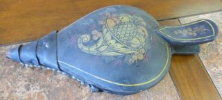 Antique Wood Painted Cornucopia Turtle Back Curved Handle Leather Bellows 1900 ' S photo