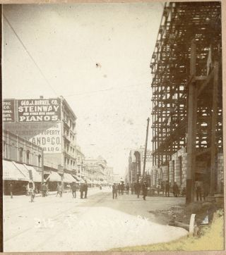 Los Angeles 4th & Spring Street Stereoview Steinway Piano Sign Hotel Ramona photo