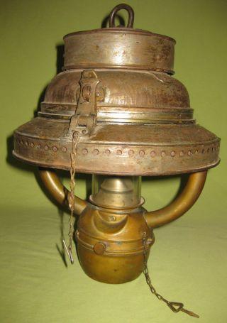 Antique England 1880 Ship Brass Oil Lamp photo