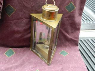 Antique/vintage Rare Brass Wedge Ship ' S Lantern With Patina Nautical Estate Find photo