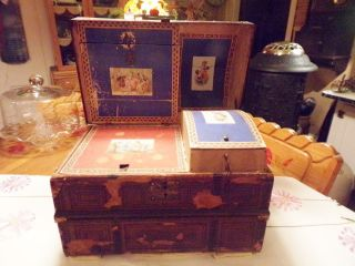 Antique Salesman Sample Child Size Domed Trunk Complete Good Graphics photo