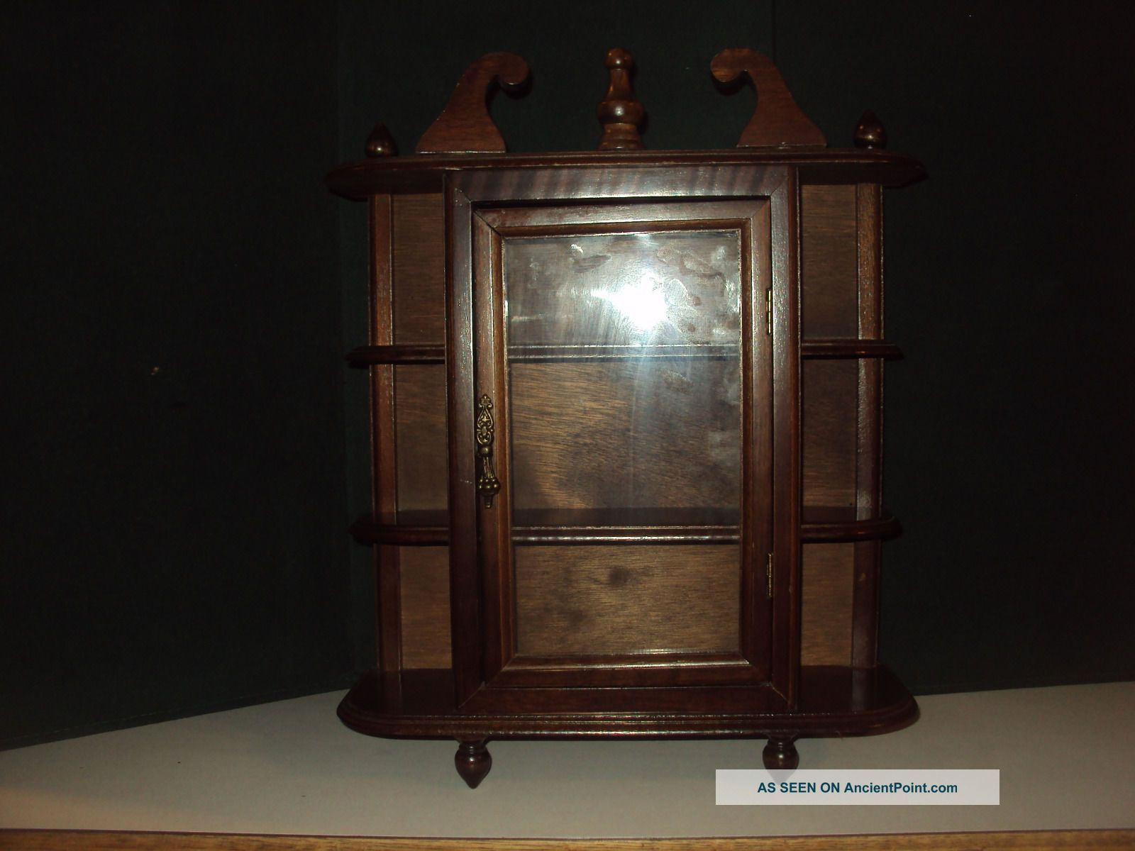 Vintage Wood Small Upright Hanging Showcase Curio Cabinet Glass Doors 2 Shelves Post-1950 photo