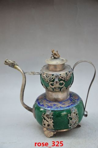 Chinese Copper Inlaid Jade Handmade Dragon Head Flagon photo