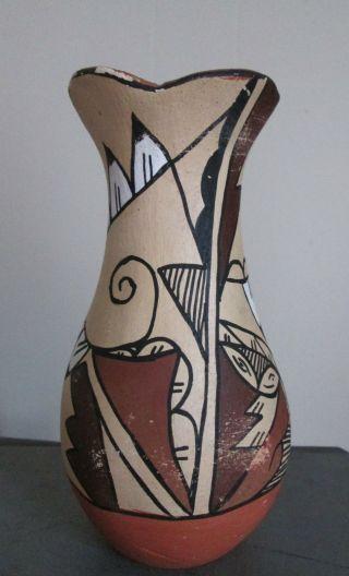 Vintage Jemez Pueblo Indian Pottery Vessel Painted Vase photo