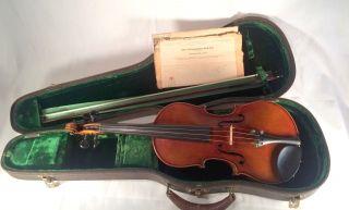 Old Vintage Violin Antonius Stradiuarius Cremonae Faciebat Anno 1734 Wood Case photo