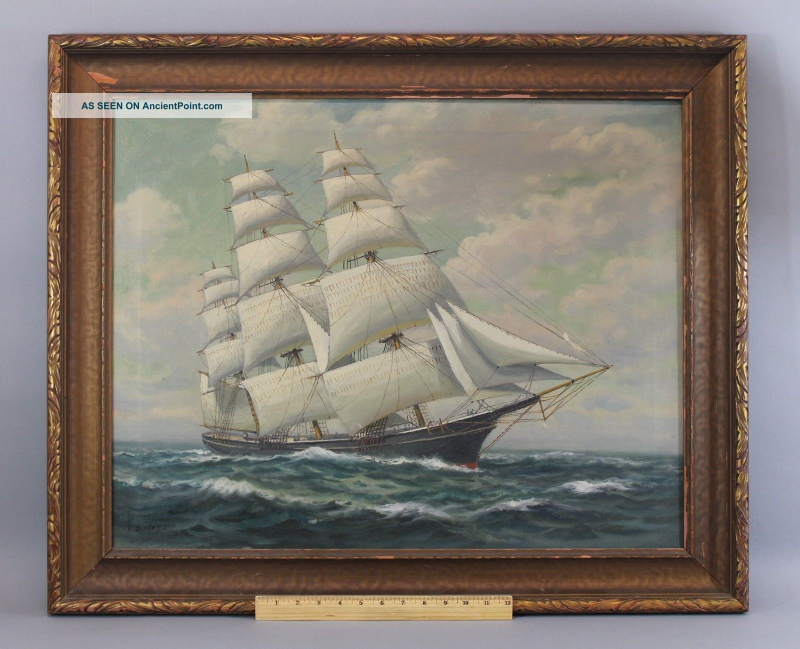 Authentic Antique Signed T.  Bailey Nautical Maritime Oil Painting,  Clipper Ship Other Maritime Antiques photo