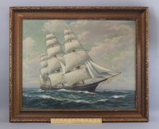Authentic Antique Signed T.  Bailey Nautical Maritime Oil Painting,  Clipper Ship photo
