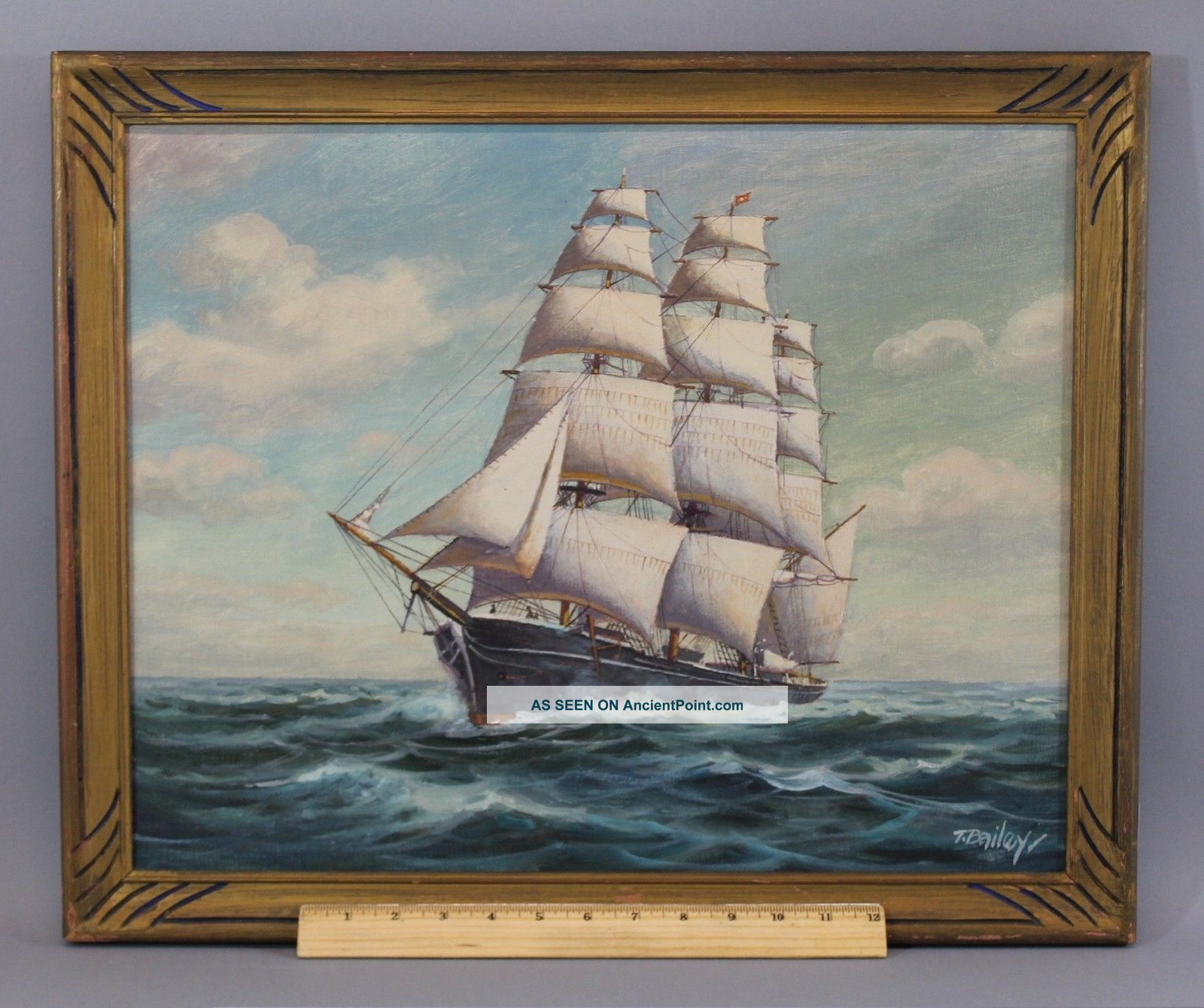 Antique Authentic Signed T.  Bailey,  Clipper Ship O/c Oil Painting,  Nr Other Maritime Antiques photo