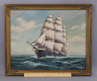 Antique Authentic Signed T.  Bailey,  Clipper Ship O/c Oil Painting,  Nr photo