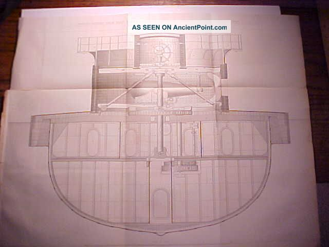1862 Blue Print Of Uss Dictator Iron Clad Steamer Warship Cross Section Vg, Other Maritime Antiques photo