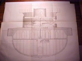1862 Blue Print Of Uss Dictator Iron Clad Steamer Warship Cross Section Vg, photo