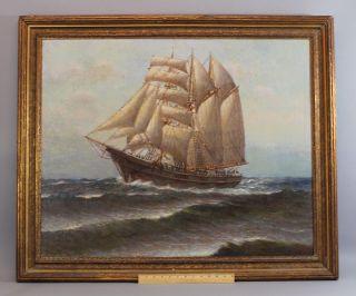1936 Antique Artist Signed Clipper Ship Schooner Maritime Seascape Oil Painting photo